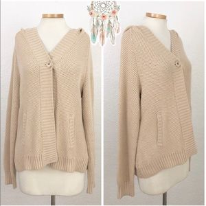 Sonoma   Cream Hooded Long Sleeve Button Sweater